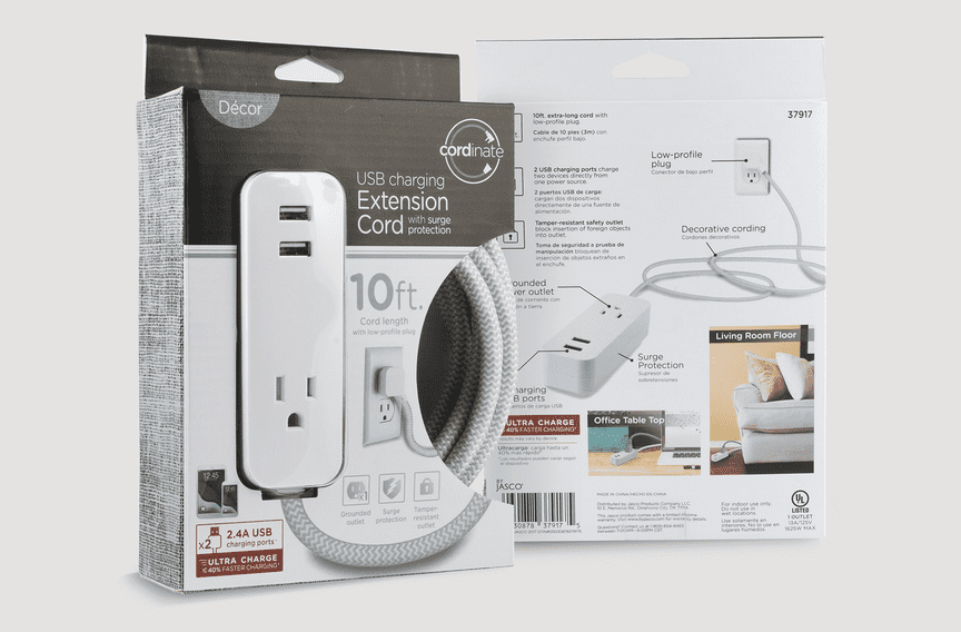 Packaging for a gray 10ft. USB extension cord with a braided fabric cable is displayed against a neutral background.