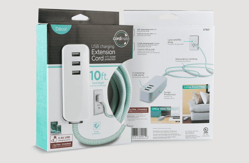 Packaging for a blue 10ft. USB extension cord with a braided fabric cable is displayed against a neutral background.