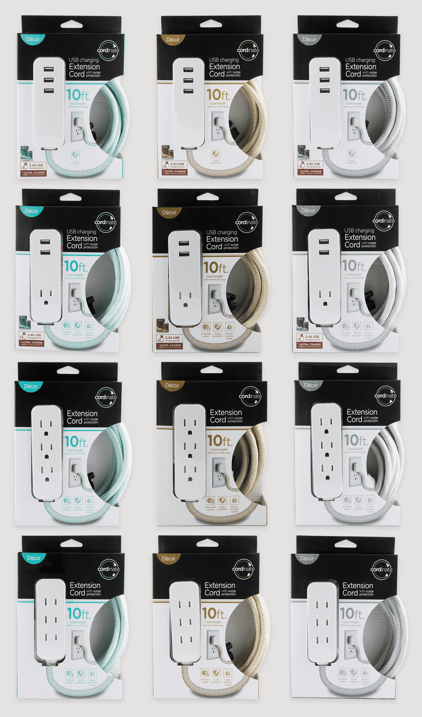 Three columns show straight-on images of the USB extension cord packaging in blue, brown, and gray colors and with different features.