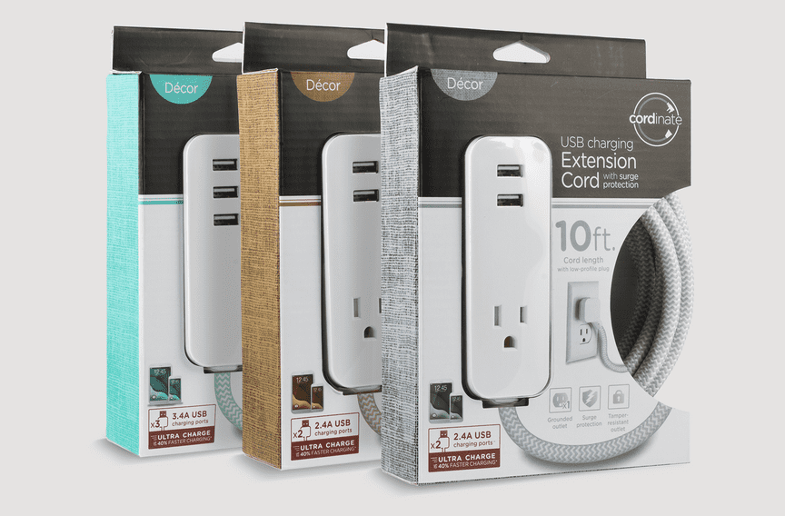 A blue, brown, and gray packages for USB extension cords stand carefully angled against a neutral background.